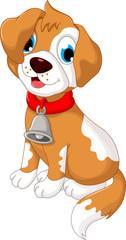 funny puppy cartoon sitting