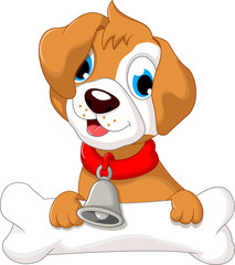 funny puppy cartoon holding bone