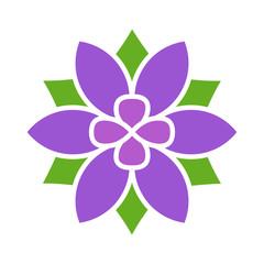 Violet six petal flower blossom or bloom flat color icon for apps and websites