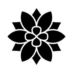 Six petal flower blossom or bloom flat icon for apps and websites