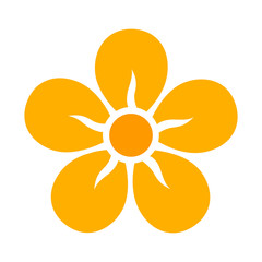 Yellow five petal flower blossom or bloom flat color icon for apps and websites
