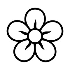 Five petal flower blossom or bloom line icon for apps and websites