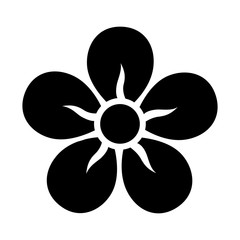 Five petal flower blossom or bloom flat icon for apps and websites