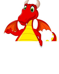 red dragon cartoon posing with blank sign