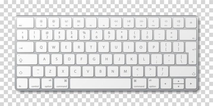 Modern aluminum computer keyboard on transparent background.