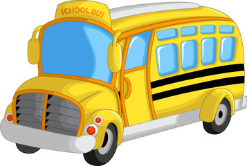 cute school bus cartoon