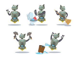 cleaning robot cartoon set
