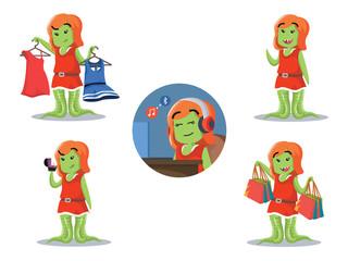 female monster cartoon set