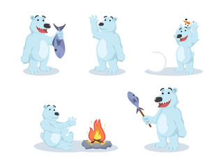polar bear cartoon set illustration design