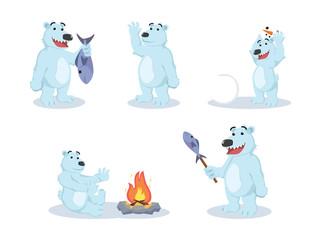 polar bear cartoon set illustration design