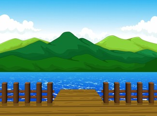 beautiful view of dock cartoon with mountain landscape background