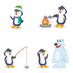 penguin cartoon set illustration design