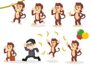 monkey cartoon set illustration design