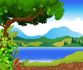 beauty lake with landscape view background