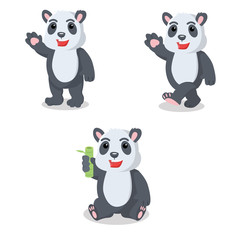 panda cartoon set illustration design