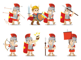 roman soldier set illustration design