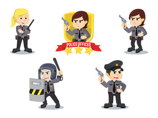 police officer cartoon set