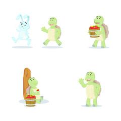 turtle cartoon set illustration design