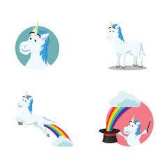 unicorn cartoon set illustration design