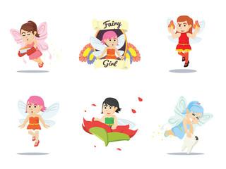 fairy cartoon set vector illustration design