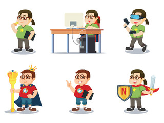 fat nerd cartoon set