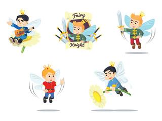 fairy prince cartoon set