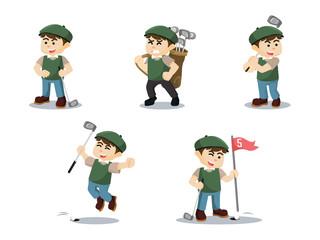 golf player cartoon set