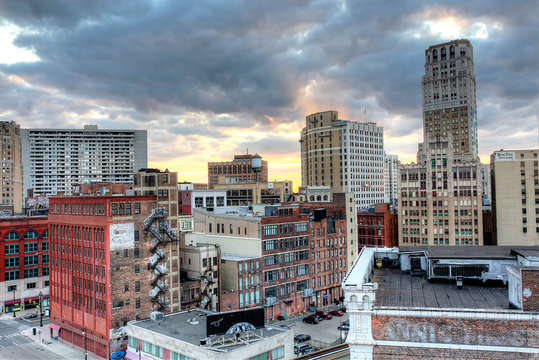 Detroit the Motor city at Sunset