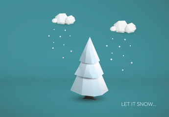 """Let it Snow"" Polygonal Tree Illustration"
