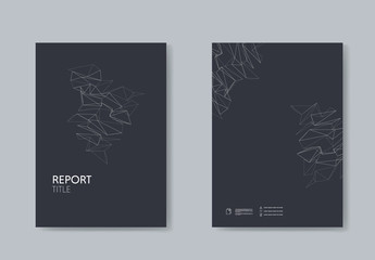 Dark Report Cover Layout with Abstract Design Element
