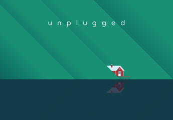 """Unplugged"" House on a Lake Illustration"