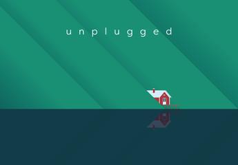 """Unplugged"" House on a Lake Illustration"