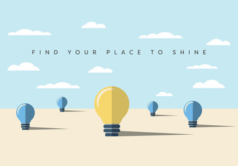"""Find Your Place to Shine"" Light Bulb Illustration"