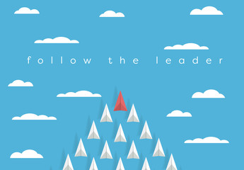 """Follow the Leader"" Paper Airplane Illustration"