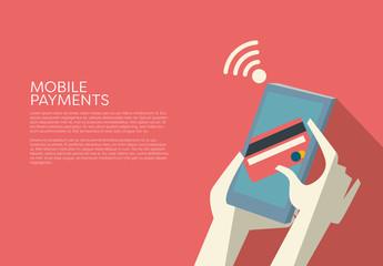 Mobile Payments Smartphone and Card Device Illustration