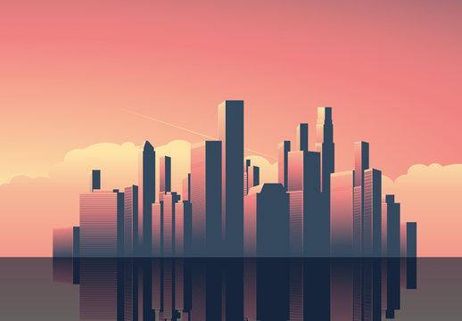 Art Deco Cityscape at Sunset Illustration