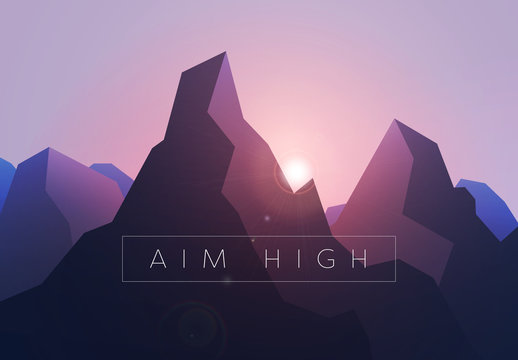 """Aim High"" Mountain Sunrise Illustration"