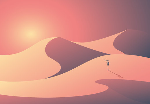 Explorer in the Desert Illustration