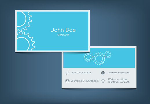 Line Art Gear Business Card Layout