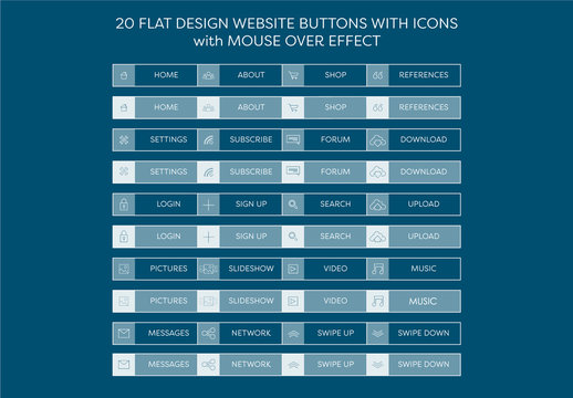 Flat UI and Web Buttons with Icons