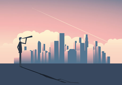 Art Deco Cityscape at Sunset with Businessperson Illustration