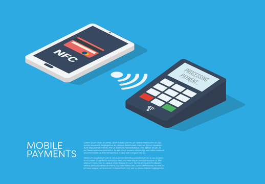 Mobile Payments Smartphone and Credit Card Illustration