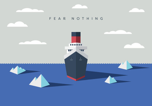 """Fear Nothing"" Oceanliner Ship Illustration"