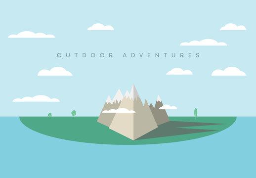 """Mountain Island """"Outdoor Adventure"""" Illustration"""