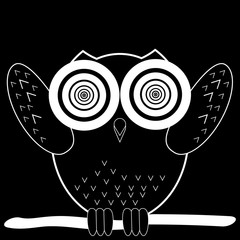 white cartoon vector owl on branch at night