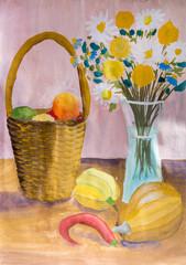 """Детский рисунок гуашью """"Натюрморт с продуктами и букетом цветов"""""""
