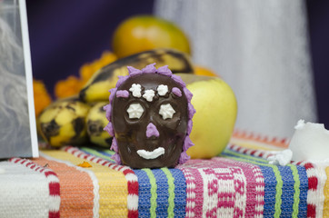 Chocolate skull. Part of a mexican day of the dead offering altar