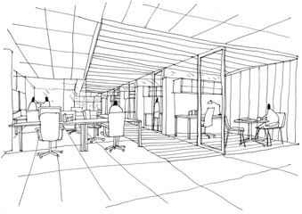 Outline sketch drawing and paint of a interior space,workstation office