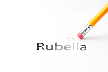 Closeup of pencil eraser and black rubella text. Rubella. Pencil with eraser.