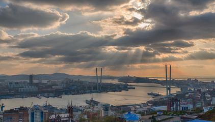 Vladivostok cityscape, sunset view. HDR image.